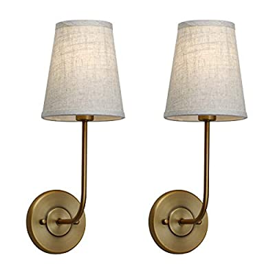 Pathson Vintage Wall Sconce, 1-Light Wall Light with Linen Fabric Lamp Shade, Industrial Wall Mounted Fixture for Bedroom Living Room, Antique Brass Finish 2-Pack