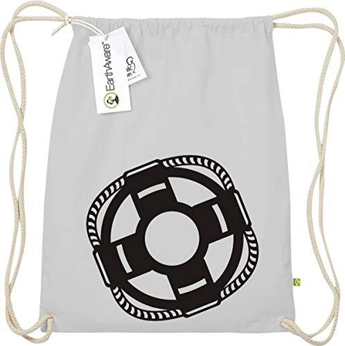 Shirtstown Gymsack, Rettungsring Boot, Kapitän, Bio Fairtrade, Sprüche Spruch Logo Motiv, Turnbeutel Tasche Sport Beutel, Farbe schwarz