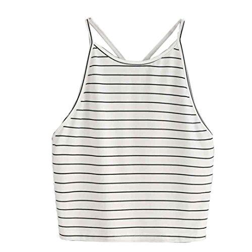 TWIFER Damen Mode Crop Tank Tops Ärmelloses T-Shirt Gestreiftes Camisole