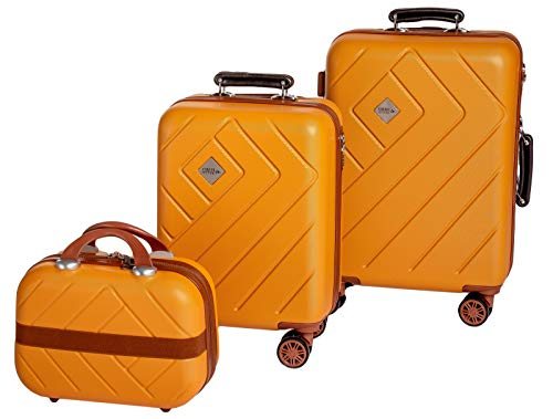 Enrico Coveri Moving Set Due Trolley + Beauty Case da Viaggio, Valigie Rigide ABS Arancio e Marrone in Due Dimensioni