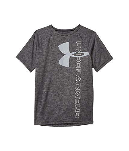Under Armour Boys' Tech Split Logo Hybrid T-Shirt, Black (001)/White, Youth X-Large