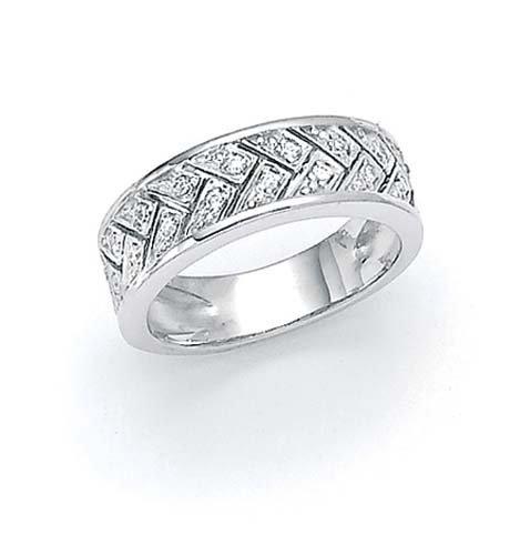 Plata de ley anillo de diamantes en bruto de la armadura - tamaño N 1/2 - JewelryWeb