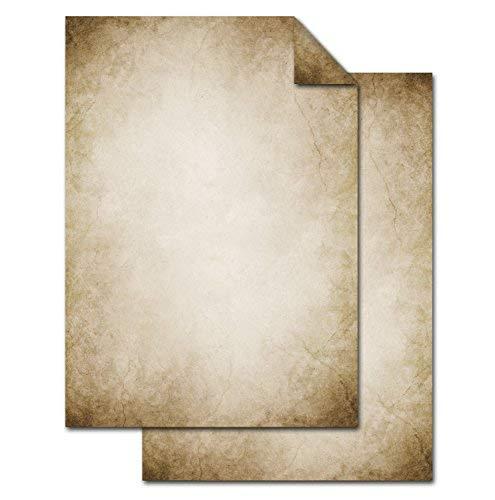 100 vellen briefpapier VINTAGE NOSTALGIE DIN A4 oud papier bruin beige natuur printerpapier aan beide zijden bedrukt 100 g schrijfpapier motiefpapier briefblad gemarmerd