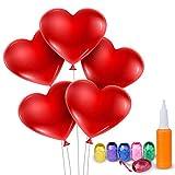 Meersee Herzballons mit Pumpe 100 Latexballons und 6 Farbiges Band Luftballons Herz Rot für Valentinstag, Party, Hochzeitsfeiern (Herz)