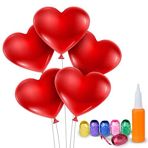 Meersee Globos de Corazón Rojo 100 Globos de Latex con Forma de Corazon con Bomba y 6 Cinta Corazón Globos para Fiesta de Cumpleaños (corazón)