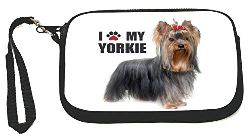 Paw Print I Love my - Yorkie Zipper Coin Purse - Wristlet - Camera Case - MP3 Case - Ideal for carrying Phone, Cash, Cosmetics, mp3 player, etc. etc.
