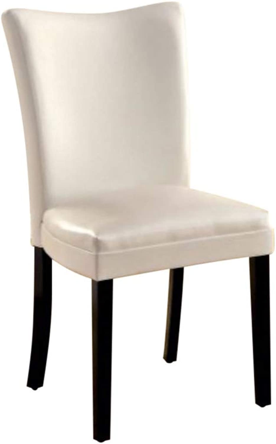 Bowery Hill Metal Dining Chair with Black Vinyl in Matte Silver