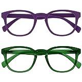 Opulize pop pack 2 retro redondo liso mate morado verde hombres mujeres gafas de lectura bisagras resorte rr2-56 +1,00