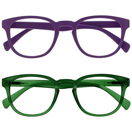 Opulize Pop Pack 2 Retro Redondo Liso Mate Morado Verde Hombres Mujeres Gafas De Lectura Bisagras Resorte RR2-56 +1,50