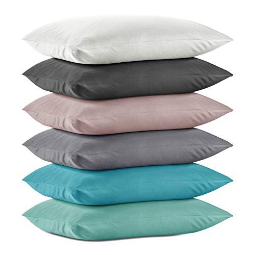 Hometex Premium Textiles Juego de 2 Fundas de cojín prémium de algodón Jersey, Pack Doble de Fundas de Almohada de Aprox. 160 g/m2, Verde Menta, 2er Set | 40 x 145 cm
