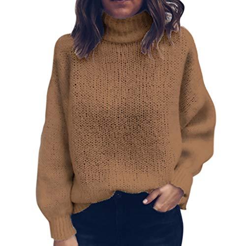 Strickpullover Damen Winter Warmer Langarm Rollkragenpullover Schöne Elegant Oberteile Solide Bluse Outwear URIBAKY
