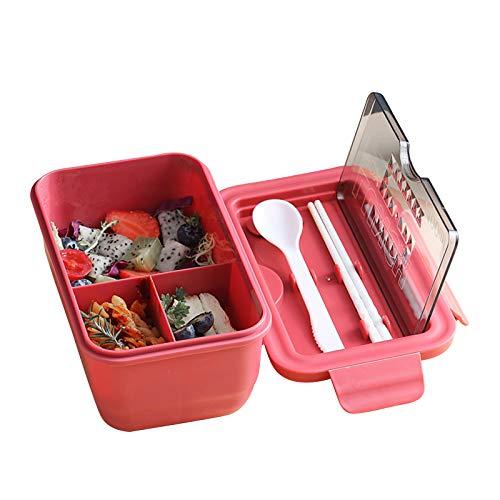 Dibiao Bento Box Mikrowelle Safe Lunch Box 3- Fach Dicht Lebensmittel Behälter mit Löffel Essstäbchen für Erwachsene Studenten Arbeit Schule