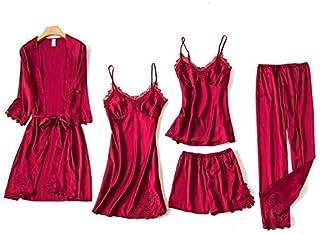 AFUPO 5PCS Pajamas Set Nightdress Home Wear Robe Sexy Women Lace Sleeve Sleepwear,Burgundy,M