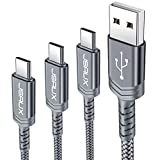 JSAUX USB C Kabel [3 Pack 0.3M 1M 2M ] Nylon Type C Ladekabel für Samsung Galaxy S10 S9 S8 Plus,Note 10 9 8,A3 A5 2017,HTC 10 U11,Sony Xperia XZ Xa1, Huawei P30 P20 Mate 20 Lite P10 P9 Plus usw (Grau)
