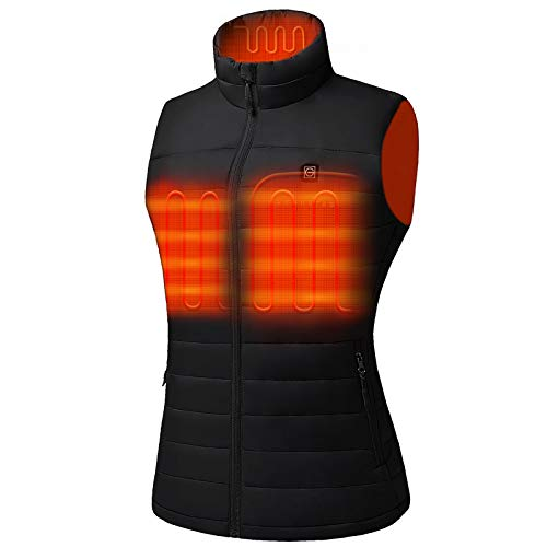Venustas Women s Heated Vest with Battery Pack 5V, YKK Zippers and Water&Wind Resistant Black