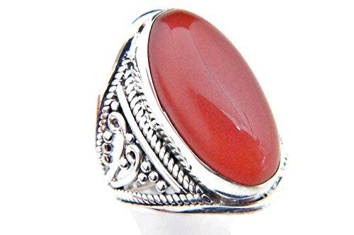 Ring Silber 925 Sterlingsilber Karneol orange rot Stein (Nr: MRI 83), Ringgröße:58 mm/Ø 18.5 mm