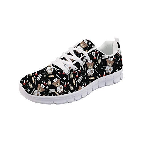 Nopersonality Femme Basket Mode Chaussures de Sports Course Sneakers Fitness Gym athlétique Outdoor Casual Léger Shoes Cartoon Nurse Bear- Noir - 37