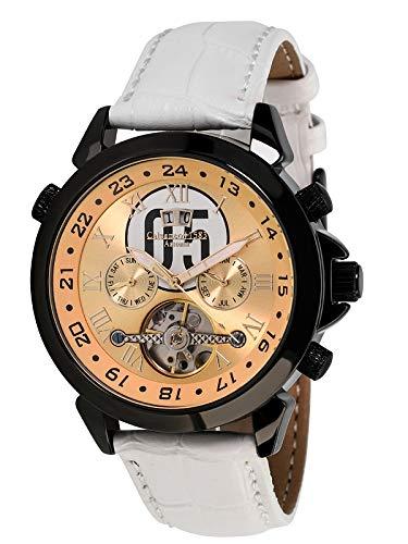 Calvaneo Reloj analógico automático para hombre con correa de piel 107959