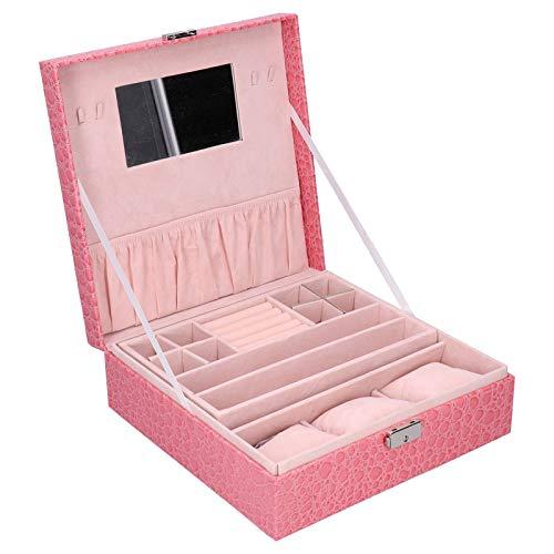 Organizador de joyero con estuche de reloj, estuche de exhibición de joyería con cerradura, cuero PU rosa para mujeres y niñas