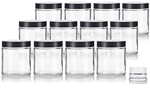 Clear Thick Glass Straight Sided Empty Jar Containers with Black Smooth lids - 4 oz / 120 ml (12 Pack) + Small Glass Balm Jar