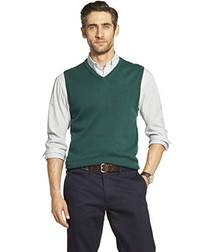 IZOD Men's Premium Essentials Solid V-Neck 12 Gauge Sweater Vest, BOTANICAL GARDEN, Large