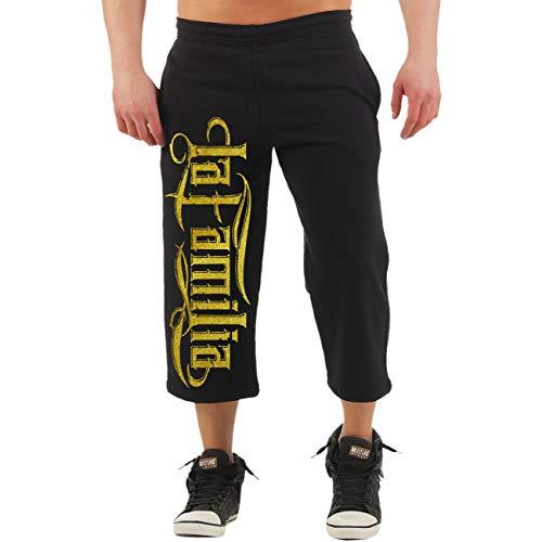 Spaß kostet Männer und Herren 3/4 Dreiviertel Hose La Familia Gold Half Shorts
