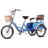 OHHG Triciclo Adultos Asiento Respaldo Ajustable 6 velocidades Triciclo Bicicleta Freno Bicicleta 3 Ruedas recreación Compras Bicicleta Hombres Mujeres