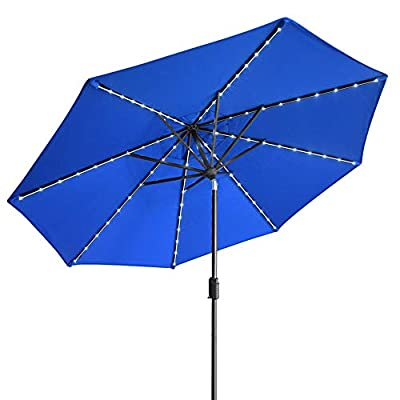 EliteShade Sunbrella Solar Umbrellas 9ft Market Umbrella with 80 LED Lights Patio Umbrellas Outdoor Table Umbrella with Ventilation and 5 Years Non-Fading Top,Royal Blue