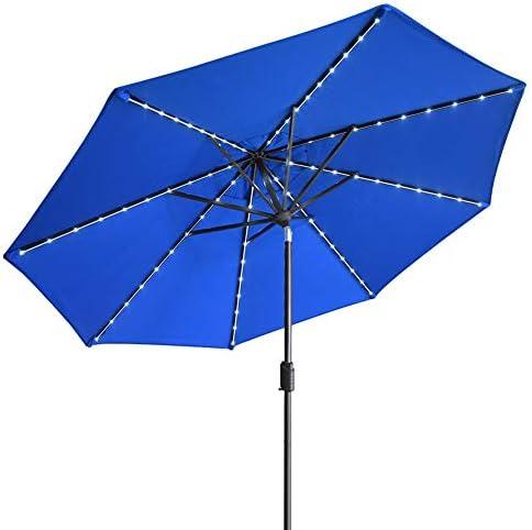 EliteShade Sunbrella Solar Umbrellas 9ft Market Umbrella with 80 LED Lights Patio Umbrellas product image