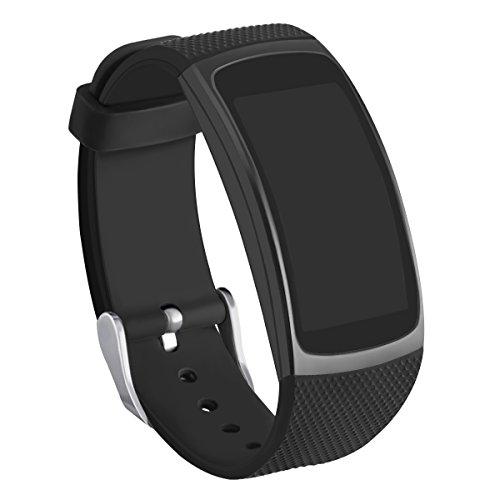 Kmasic Kompatibel Gear Fit 2 Pro/Fit 2 Armband, Silikon Bänder Ersatzband für Samsung Gear Fit 2 & 2 Pro Tracker-Schwarz