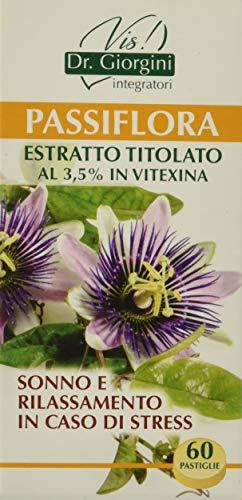 Dr. Giorgini Integratore Alimentare, Monocomponenti Erbe Passiflora Estratto Titolato al 3,5% in Vitexina Pastiglie - 30 g