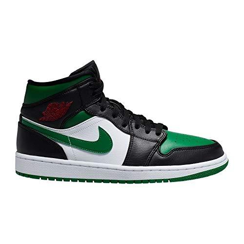 Nike Air Jordan 1 Mid, Scarpe da Basket Uomo, Black/Pine Green/White/Gym Red, 49.5 EU