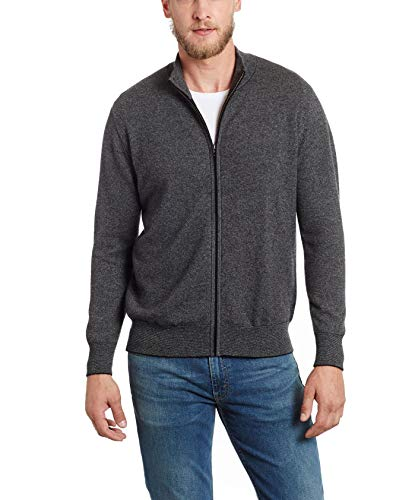 Invisible World Men's 100% Cashmere Italian Style Tweed Cardigan Charcoal SM