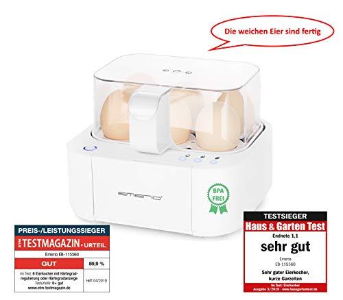 Emerio EB-115560.2, TESTSIEGER, kocht alle drei Garstufen [weich|mittel|hart] in nur einem Kochvorgang mit perfektem Ergebnis, Sprachausgabe, einzigartig in Technik und Design, weiß, 400 W, BPA frei