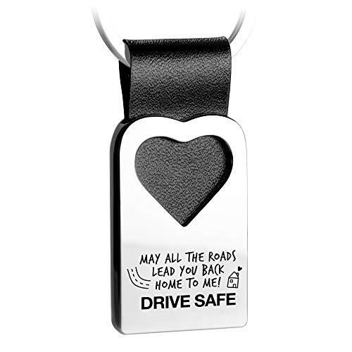 FABACH Herz Schlüsselanhänger mit Gravur aus Leder - Auto Fahr Vorsichtig Glücksbringer Anhänger für Ihren Lieblingsmensch - May All The Roads Lead You Back Home to me! Drive Safe