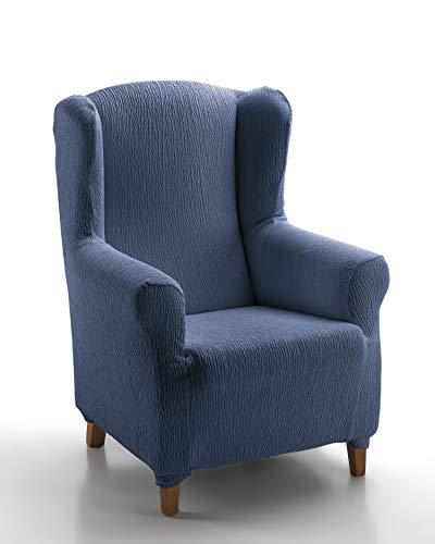 Textil-home Stretchhusse für Ohrensessel TEIDE, lastisch Bezug für Fernsehsessel Liege - 1 Sitze - 70 a 100Cm. Farbe Blau
