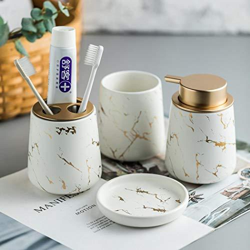 Stimmt - Juego de accesorios de baño con diseño de mármol, 4 piezas de accesorios de baño de cerámica, juego completo de accesorios de baño de lujo con dispensador de jabón,...
