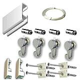 MARCS ARIAS SL Pack Basic RM de 150cm Guías de Aluminio para Colgar Cuadros (Blanco) con 4 colgadores Nylon