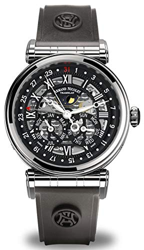 Reloj armand nicolet ar2 a422ana-nr-g9660 automático Calendario Completo Fase Lunar Reloj para Hombre Analógico de Mecánico de Cuerda Manual con Brazalete de Goma A422ANA-NR-G9660