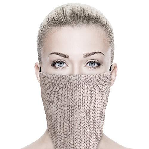 ALB Stoffe® ProtectMe - PREMIUM Loop KNIT SAND, permanent antimikrobiell, 100% Made in Germany, Ökotex® Standard 100, Mund-Nasen-Maske aus Trevira Bioactive®, waschbar, schadstofffrei, 1er Pack