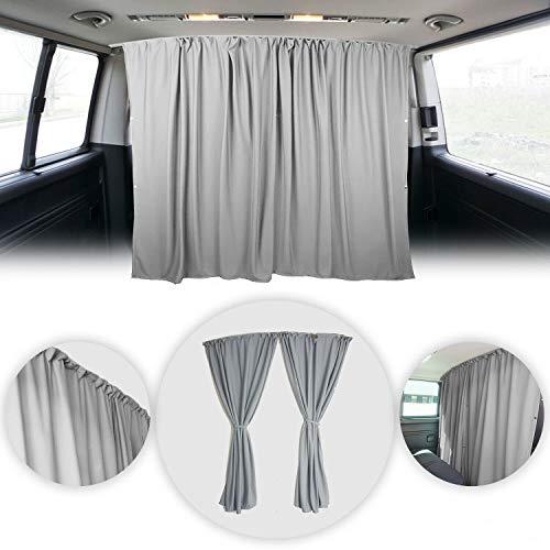 OMAC Van Cab Divider Curtains Campervan Sunshade Blinds Kit Grey | Van Accessories 2 pcs. Curtains 1pcs. Profiles Screws | Fits GMC