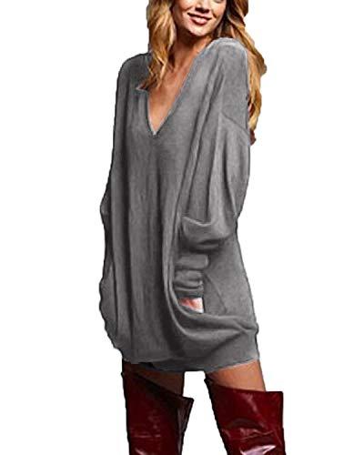 ZANZEA Jerseys de Punto Mujer Largos Cuello V Manga Larga Otoño Vestidos Sudadera Casual Tallas Grandes Suéter Suelta Gris L