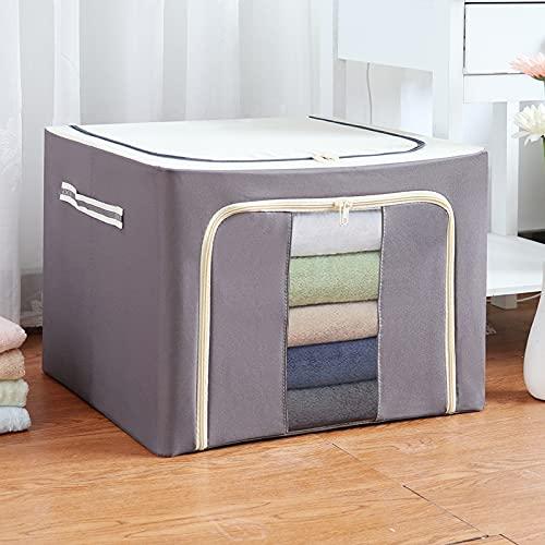 JJyy Caja de almacenamiento de tela Oxford con marco de acero para ropa sábanas manta