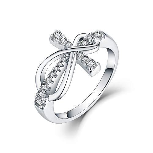 JO WISDOM Women Ring, 925 Sterling Silver Infinity Cross Crucifix Ring with AAA Cubic Zirconia