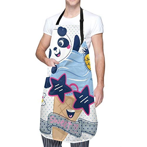 DAHALLAR Ajustable Colgante de Cuello Personalizado Delantal Impermeable,Caricatura, lindo, panda, niña, con, helado, llevando, gafas de sol, en, lunares,Babero de Cocina Vestido con 2 Bolsillos