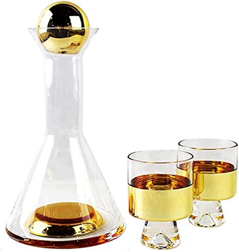 TREEECFCST Licorera Whisky Decantador De Vino Decantador de Vino Vaso de Cristal Degradado Jarra de Vino Tinto con 2 Vasos creativos Base Gruesa sin Plomo Boca Grande 928(Color:Gold)