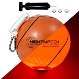 NIGHTMATCH Light Up LED Tetherball - Official Size - Extra Pump and Batteries - Perfect Glow in The Dark Tetherball Toy with Spare Batteries - Waterproof LED Glow Ball with a Bright LED