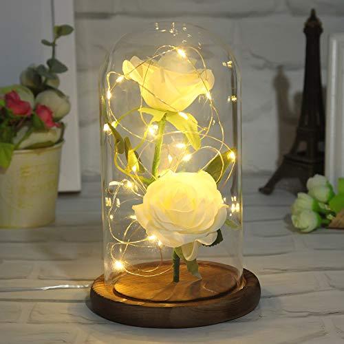 YUY Lámpara Estado ánimo Artificial Flor Eterna Simulación Flor Rosa Decoración Hogar para Bodas Día San Valentín Regalos Día Madre,White