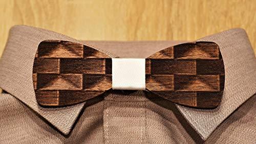 Holzfliege Männer weiß graviert Herren-Fliege mit elegantem Stoffband handgemacht Shabby Chic Querbinder Bräutigam Accessoires
