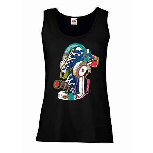 lepni.me tanktop voor dames, straatkunst, gymschoenen met koptelefoon - muziek, party, hip hop. Hipster-stijl, alternatieve mode